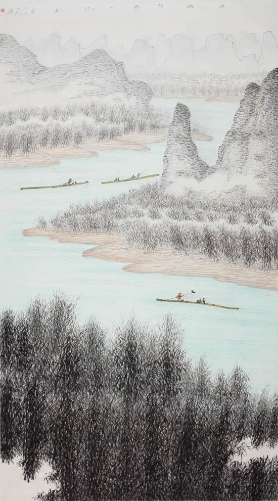 渔歌竹影一江风 120x220cm 2017年