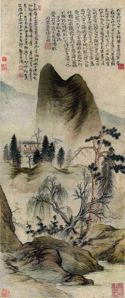 程十发捐赠给上海中国画院的清石涛《赠王梅庵山水图轴》