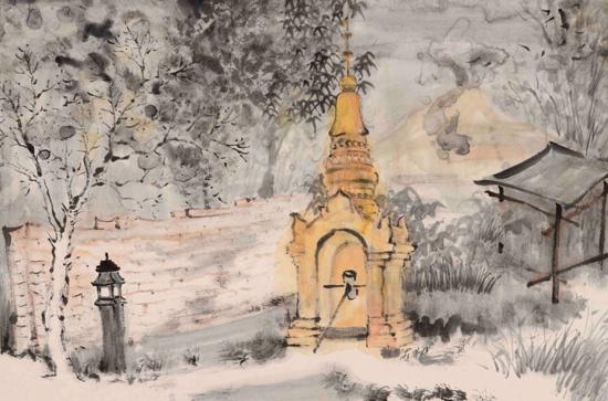 《打洛风物之二》宣纸水墨设色46cm×68cm 2016年