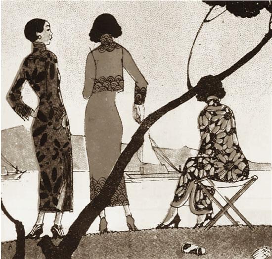 叶浅予20世纪30年代为《时代漫画》画的时装画