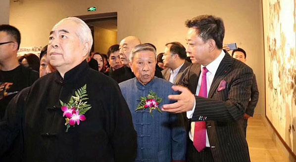 """著名画家、学者范曾先生出席""""怀水清兴""""画展开幕式"""