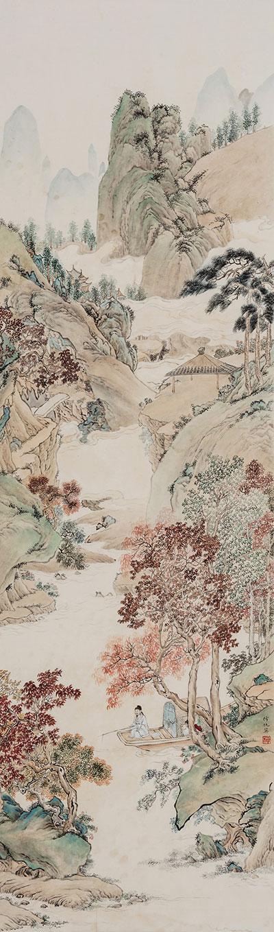 《楓溪垂釣圖》楊柳  臨摹