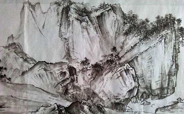 《溪山清远图》崔雨萌  临摹