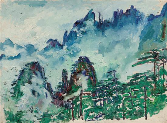 刘海粟 曙光顶看始信峰 60×80cm 1982年 油画 上海刘海粟美术馆藏