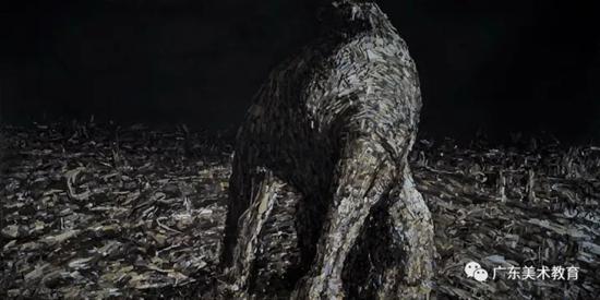 白晓刚《遗迹·雄风》150cm×300cm 2017年.