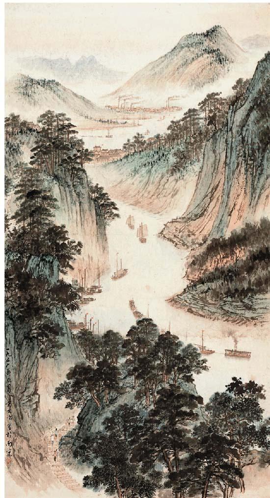 宋文治 峡江图 国画