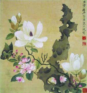 《玉堂富贵图》是吉祥画,以玉兰、海棠和牡丹的组合为题材