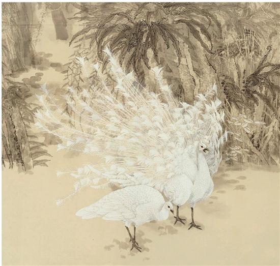 安华平 雨林清霁 绢本 250×800cm 2017年