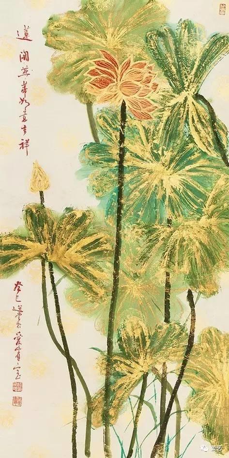 并蒂莲设色纸本138×68cm2013年