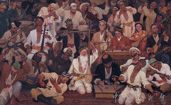 油画《木卡姆》哈孜·艾买提128cm×192cm1984年作