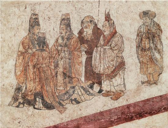 客使图 章怀太子墓 现藏于陕西历史博物馆 收录于《中国古代壁画・唐代》