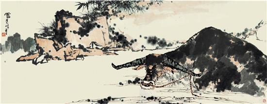 潘天寿 夏塘水牛图卷 1960年代 142.7×367cm 潘天寿纪念馆藏