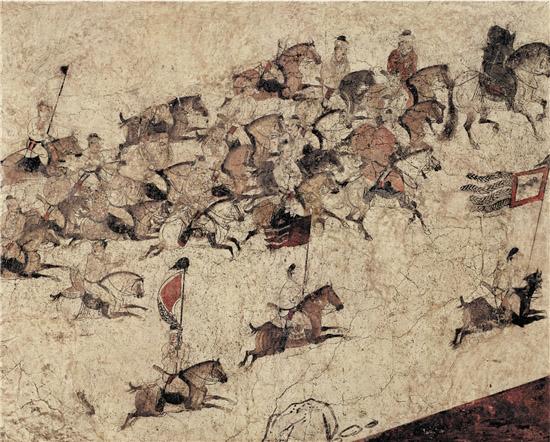狩猎出行图(局部一) 章怀太子墓 现藏于陕西历史博物馆 收录于《中国古代壁画・唐代》