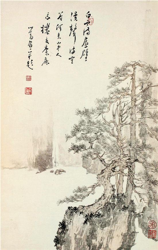 溥儒 白云溪声图 纸本设色 67×42.5cm 美国大都会艺术博物馆藏
