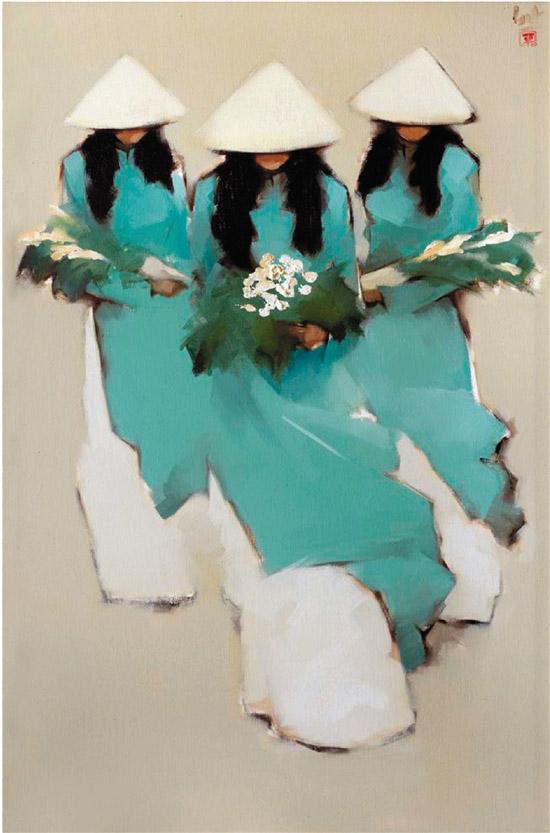 """阮青平 蓝色奥黛 布面油画(图片选自""""沪藏越南当代绘画作品展"""")"""