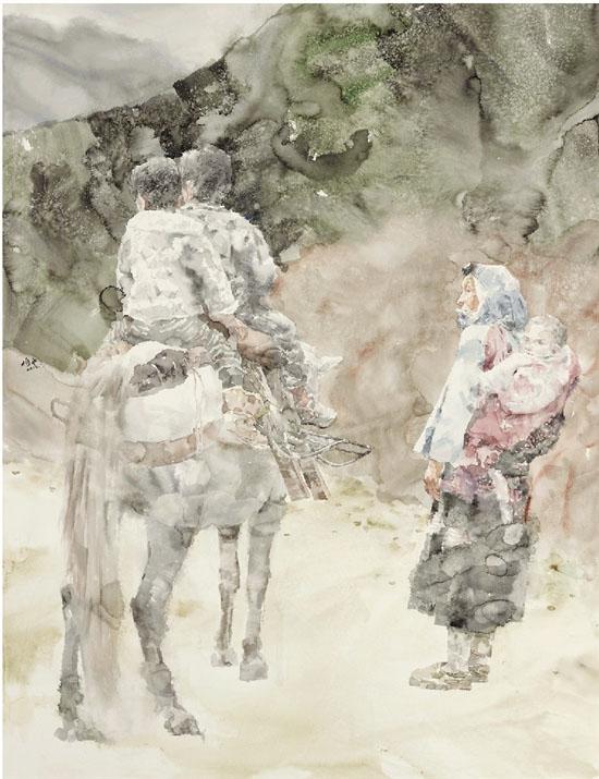 绘画语言吸收中国山水画的元素,强调作品的悠远意境