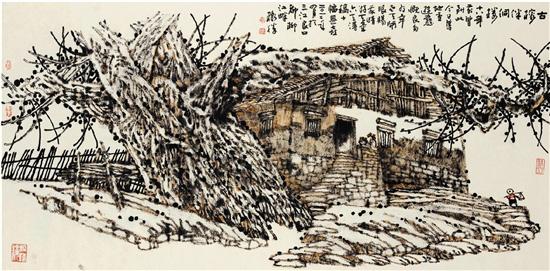 黄格胜 古榕伴侗楼 69×138cm 2012年