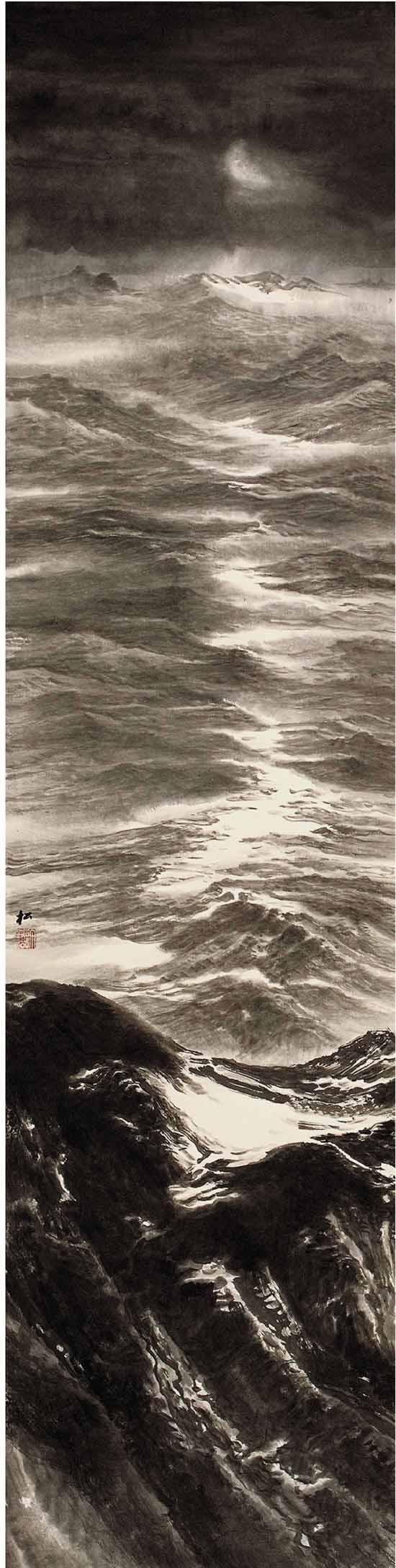 许钦松(在职画家) 月上天山