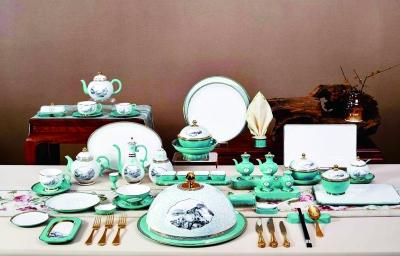 中国国家博物馆收藏的高淳陶瓷制作国宴餐瓷