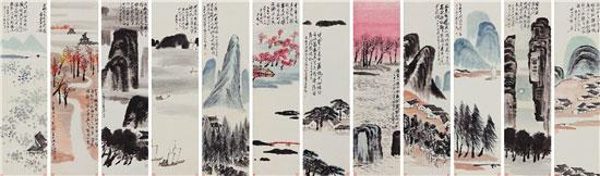 齐白石《山水十二屏》刷新中国艺术品的成交纪录被载入史册