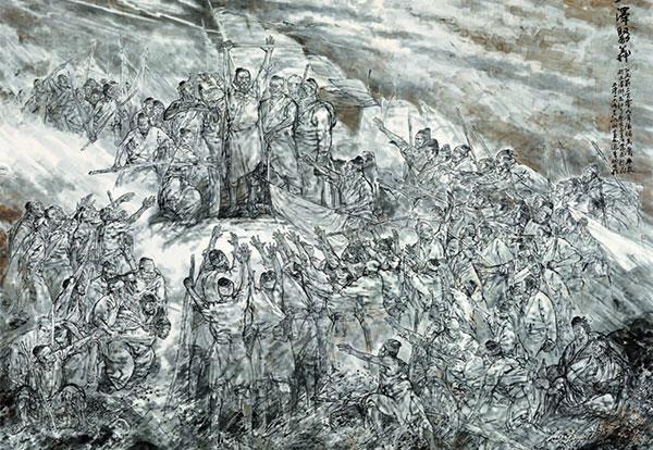 吴山明 董文运 李桐 《大泽聚义》 493×658cm 中国画 2016年