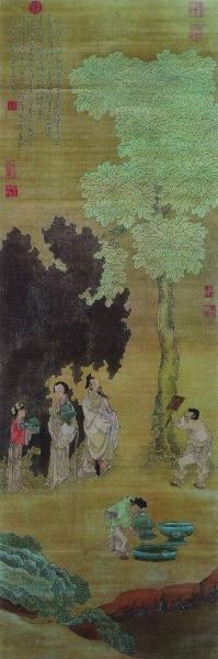 云林洗桐图(国画) 明 崔子忠