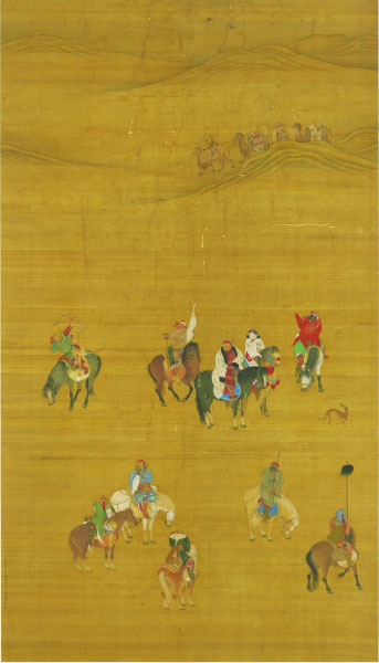 《元世祖出猎图》画面以广袤无垠、色调单一的荒漠为背景