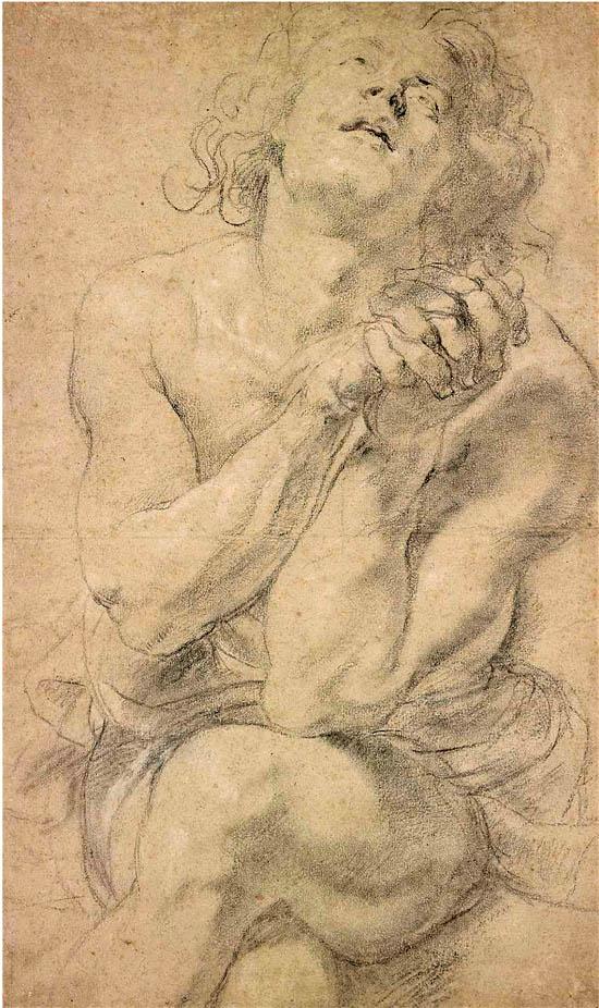 鲁本斯 坐着的青年男性 粉笔画