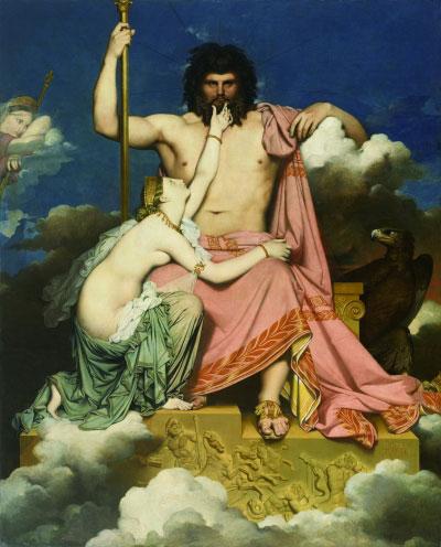 朱庇特与忒提斯(油画) 1811年 让-奥古斯特-多米尼尔·安格尔 法国造型艺术中心藏