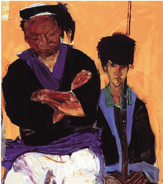 戴士和 瑶王父子 80×70cm 油画 2013年