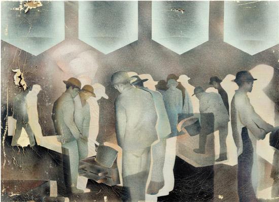 黄永�f 车间 布面油画 125×170cm 1982年