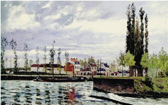 卡米勒·毕沙罗 蓬图瓦兹的水闸 画布油画 1872年