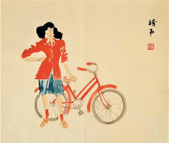 叶浅予 扶车的红衣女孩 纸本彩墨 45×33cm