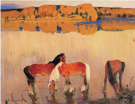 萨卡洛夫 秋天的河 油画