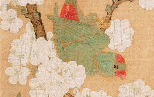 千年丹青 国宝再现:清新生动的《梨花鹦鹉图》