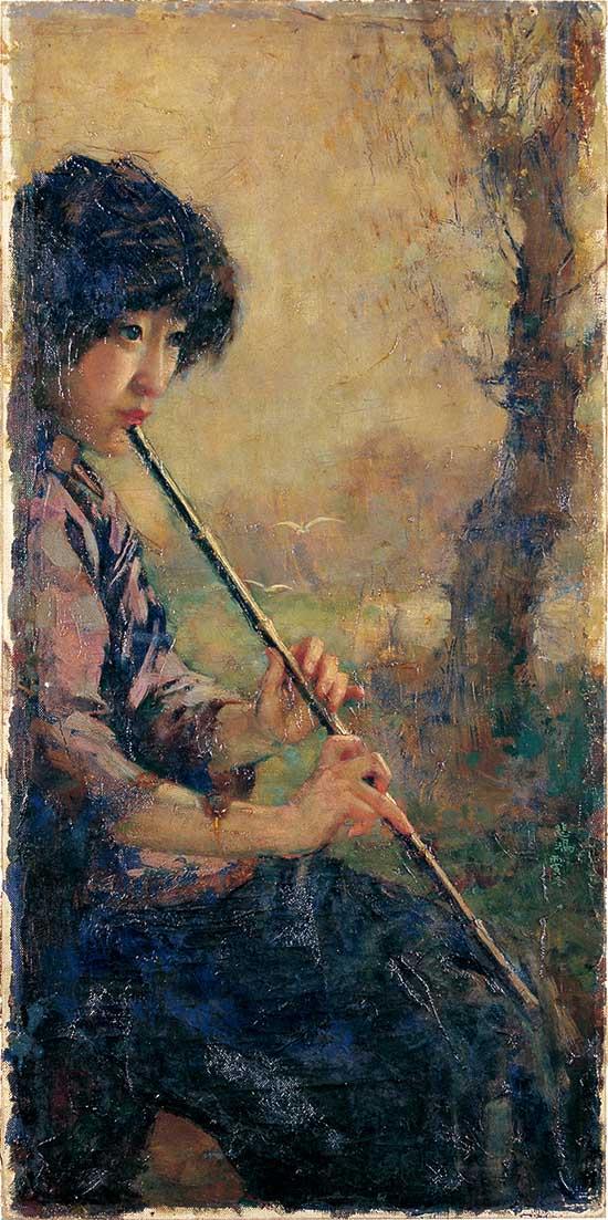 《箫声》 1926年 80x39cm 油彩布本 徐悲鸿纪念馆藏