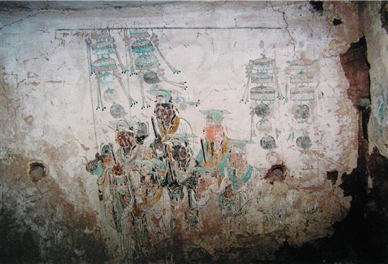 陕北横山塔湾大寺坬石窟壁画第四石窟东壁 朝元图