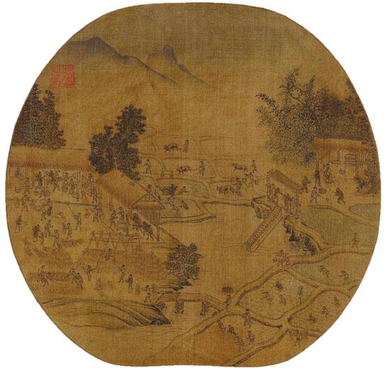 宋 杨威(传) 耕获图页 24.8×25cm