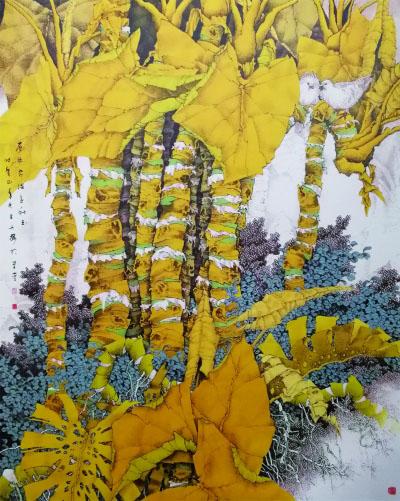 层林尽染金秋玉(国画) 225×175厘米 2013年 崔志安