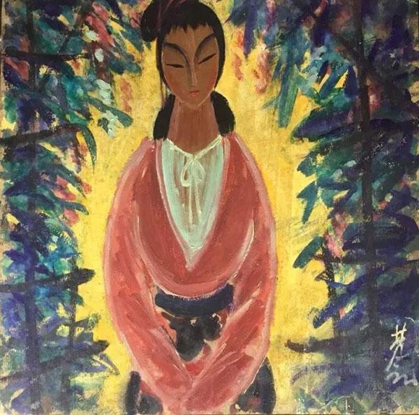 林风眠《红衣仕女》(油画)