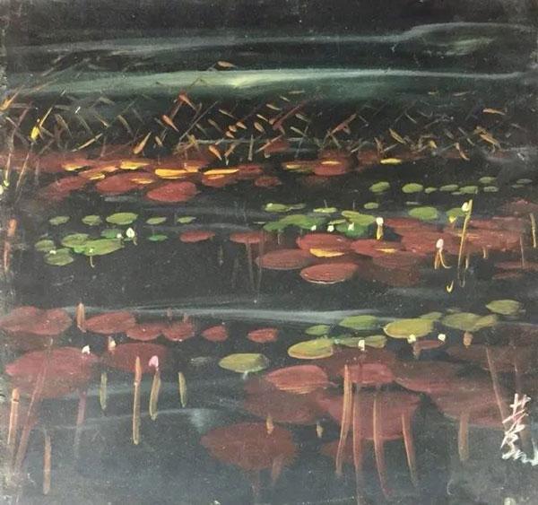 林风眠《莲塘之二》(油画)