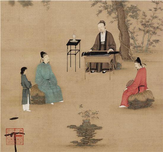 宋 赵佶 听琴图轴(局部)