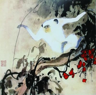红叶白猴(国画) 34×34厘米 1960年 张其翼 天津美术学院藏