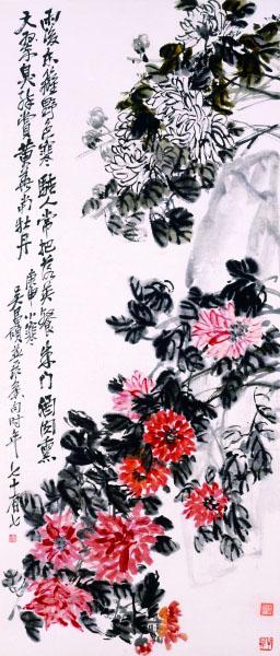 设色菊花轴(国画) 清 吴昌硕 上海博物馆藏
