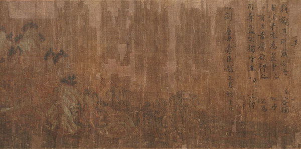 """传王维《著色山水图》(局部)画面破损度相对较高,包括图中右侧""""刘唐老""""题诗在内的很多留存信息的真伪遭到了质疑"""