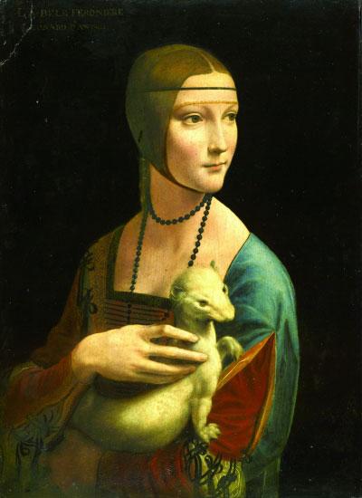 抱银鼠的女子(油画) 意大利 列奥纳多·达·芬奇 恰尔托雷斯基博物馆藏