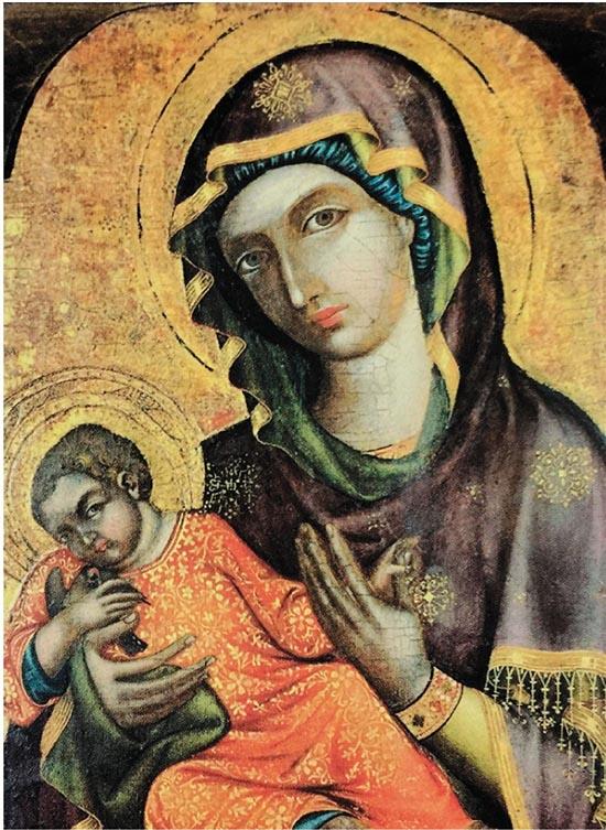 最高级别的圣母玛利亚 木板彩画 1350年以前