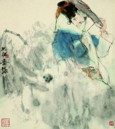雨中少女(国画)52×46.5厘米 上世纪80年代  周思聪 上海中国画院藏
