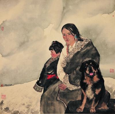 雪域母女(国画) 二〇一二年  黄华三