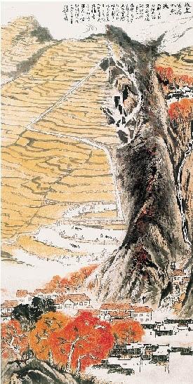陇上黄云稻熟天 陆俨少 135×66厘米 1964年